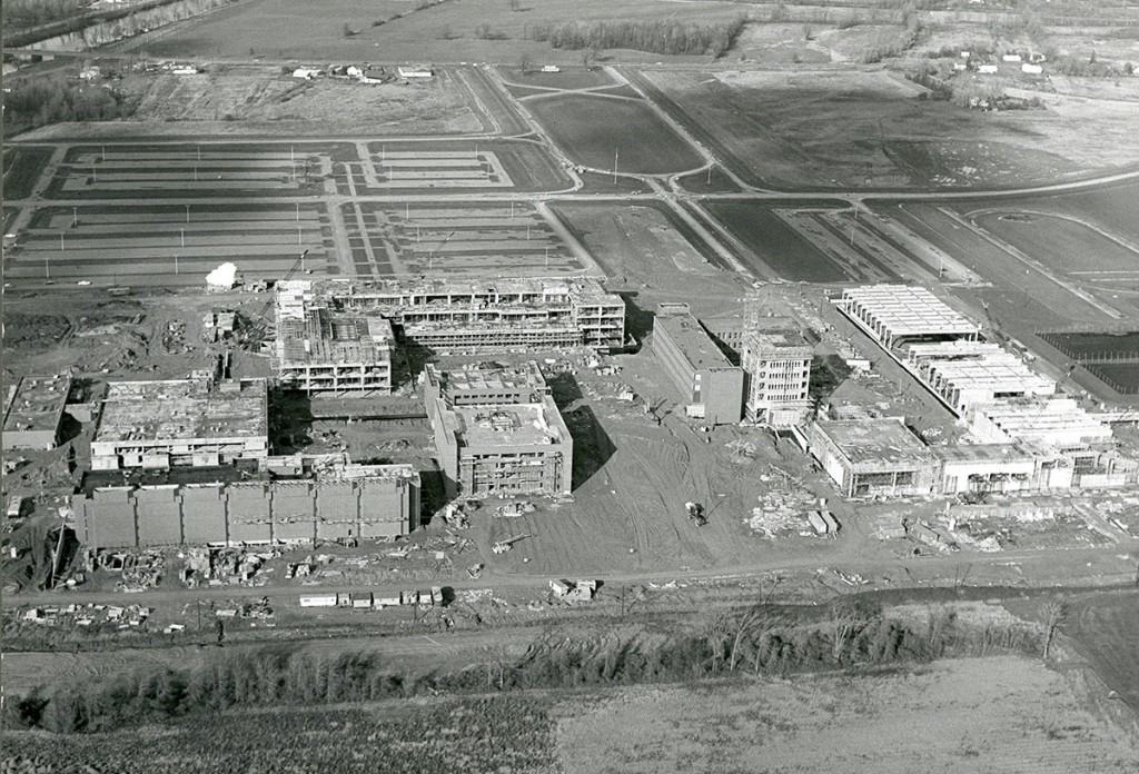 The 1967 campus construction. The Gannett building is the L shaped building in the center rear.