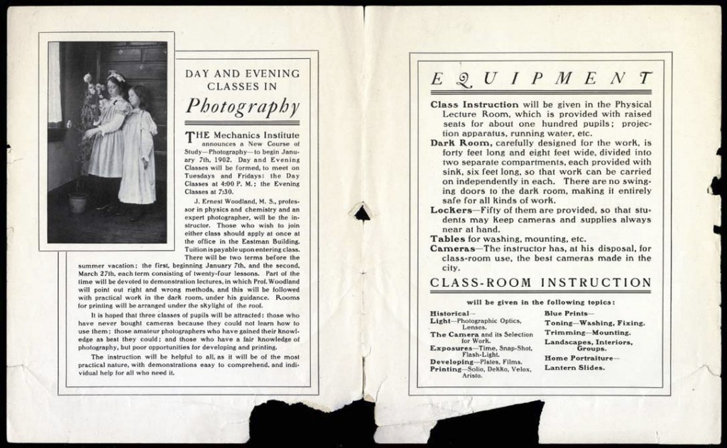 The 1902 Mechanics Institute brochure advertising photography classes