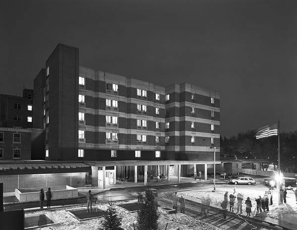 RIT Big Shot No 1 Highland Hospital , Rochester, New York USA December 4, 1987;   34 F Exposure: 30 seconds @ f/11  Film: Kodak 4×5 T-Max 400 All external lighting was provided by multiple flashes of electronic flash units (and one old-fashioned flash-powder tray) held by approximately 34 people.