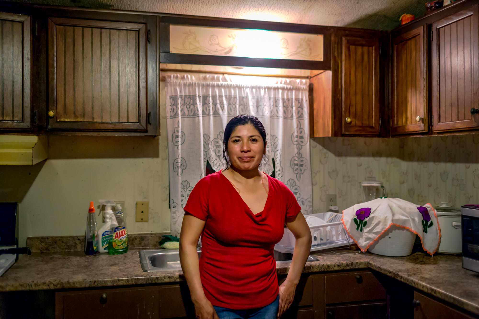 """Juana Rios, a tree inspector on a farm in Albion, NY, is not registerd to vote this year. """"Sometimes I do keep up with politics but sometimes I come home to tired I don't worry about it,"""" Juana said through a translator."""